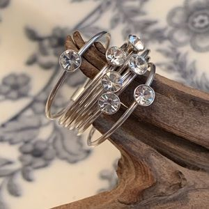 Sterling Silver CZ Stacked Ring